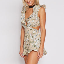 Summer Floral Ruffle Backless Jumper with Deep V Neck