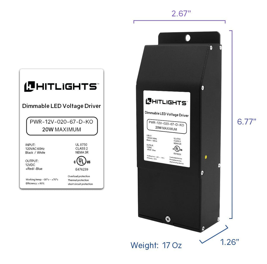 20 Watt EK-Series Dimmable Driver (Knockout version), Waterproof (Electronic, UL-Listed) - 12 Volt - HitLights