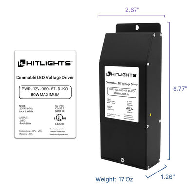60 Watt EK-Series Dimmable Driver (Knockout version), Waterproof (Electronic, UL-Listed) - 12 Volt - HitLights