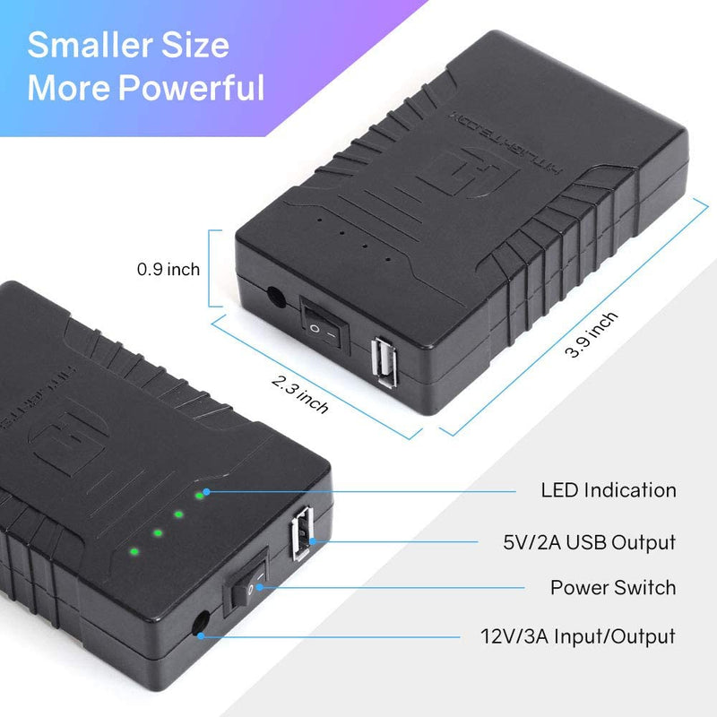 12V Battery Pack, 12V DC / 5V DC (USB) Rechargeable 2500mAH Lithium-Ion Battery, Includes Charger - HitLights