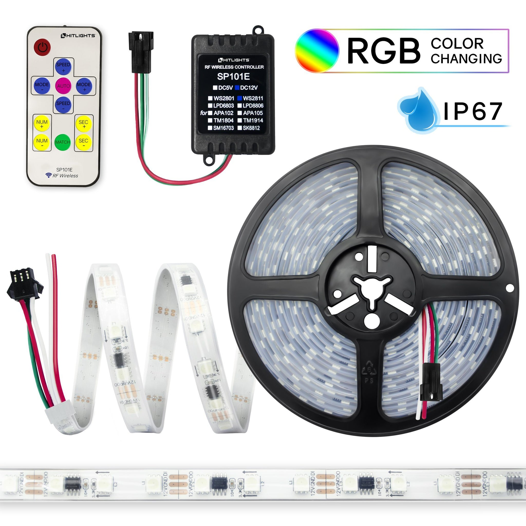 Dreaming LED Light Strip, Chasing RGB Multicolor (Waterproof) : 16.4 Feet
