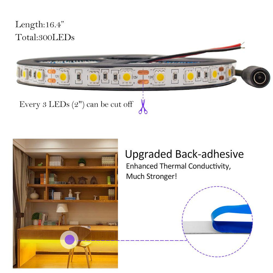 Standard Luma10 (5050) LED Light Strip, Single Color 16.4 Feet - High Density [IP-20] - HitLights