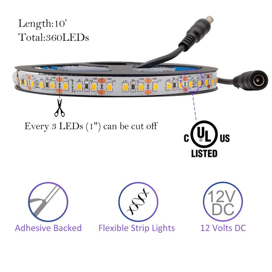 Premium Luma20 (2835) LED Light Strip, Single Color (UL-Listed) 10 Feet - High Density [IP-20] - HitLights