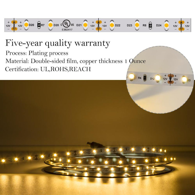 Premium Luma5 LED Light Strip, Single Color (UL-Listed) 16.4 Feet- Standard Density [IP-20] - HitLights