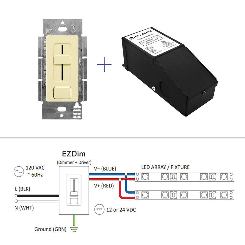 12 Volt EZDim® Driver and Dimmer Switch - 60 Watt - HitLights
