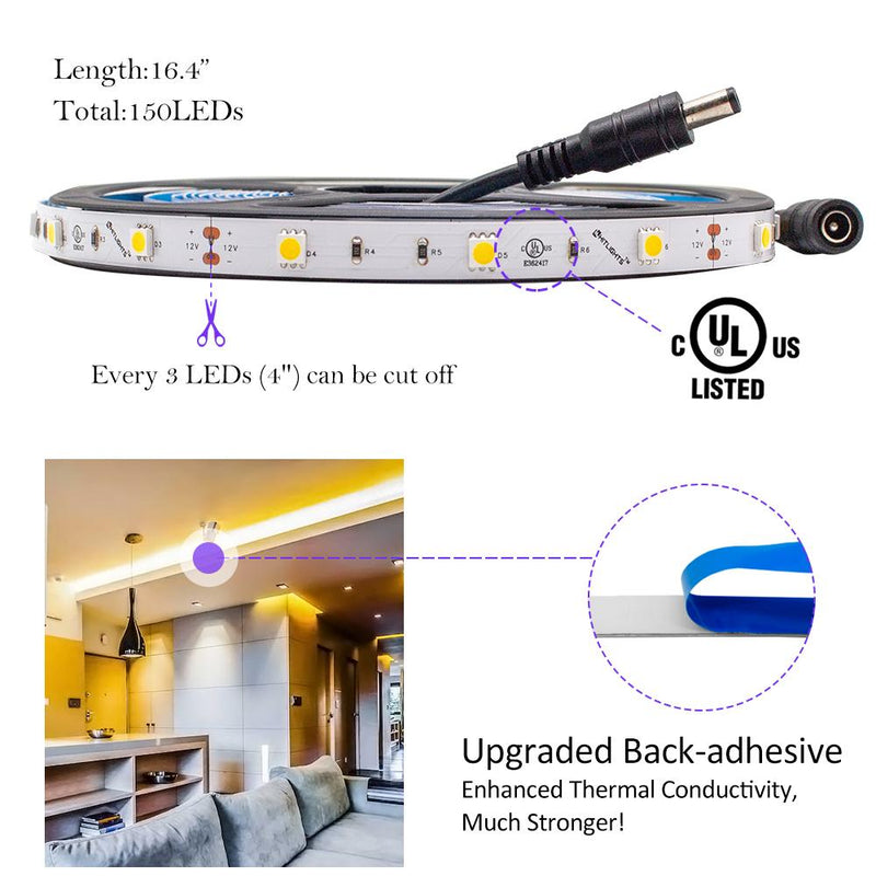 Premium Luma10 (5050) LED Light Strip, Single Color (UL-Listed) 16.4 Feet - Standard Density [IP-30] - HitLights