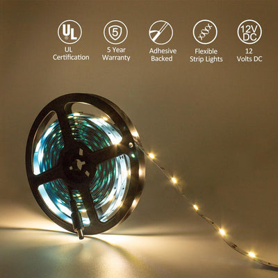 Premium Luma10 (5050) LED Light Strip, Single Color (UL-Listed) 16.4 Feet - Standard Density [IP-20] - HitLights