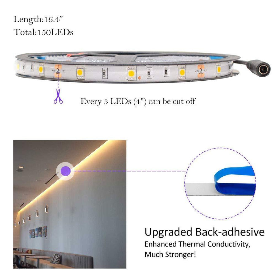 Standard Luma10 (5050) LED Light Strip, Single Color 16.4 Feet - Standard Density Weatherproof [IP-65] - HitLights
