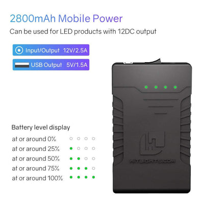 2,800 mAh DC Rechargeable Battery Pack - 12 Volt - HitLights