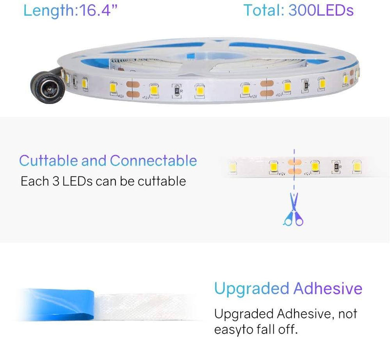 Warm White 16.4FT LED Strips Kit 3000K, Includes UL Power Supply and Controller, Dimmable - HitLights