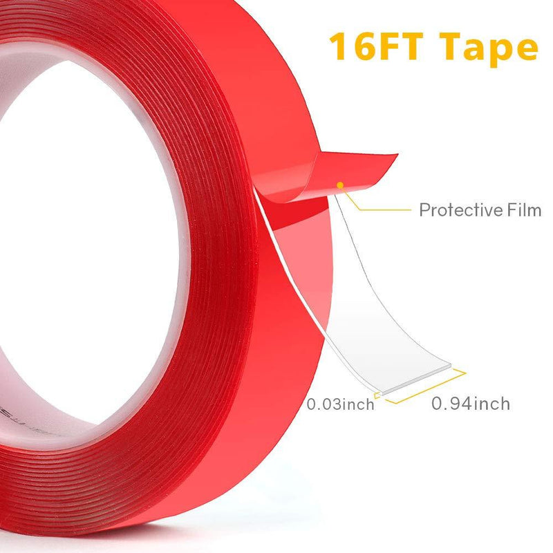 Double Sided Tape, HitLights 16ft Transparent VHB Mounting Tape Heavy Duty Waterproof Clear Tape for Car Motorcycle Home Wall Office Decor - HitLights