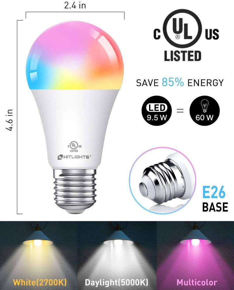 Smart Light Bulb, UL Listed RGB Dimmable Voice Activated A19 E26 9.5W 60W Equivalent, 3 Pack (Multi-Colored) - HitLights