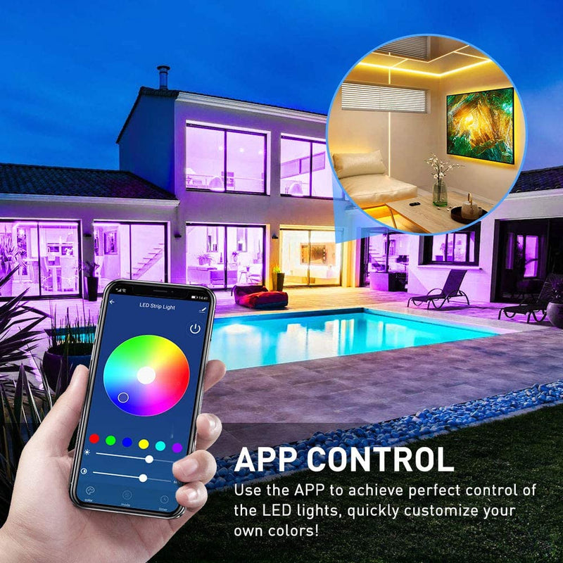 16.4ft WiFi APP Control Smart LED Strip Lights, Waterproof Music Sync 16 Million Colors RGB - HitLights