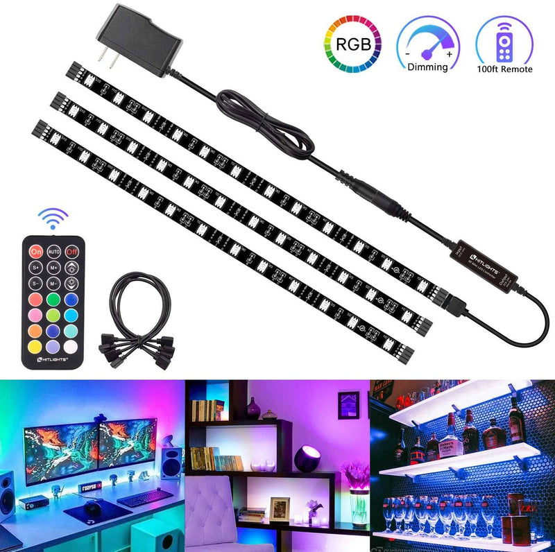 HitLights LED Strip Lights 3 Pre-Cut 12Inch/36Inch LED Light Strip Flexible Color Changing 5050 LED Accent Kit with RF Remote - HitLights