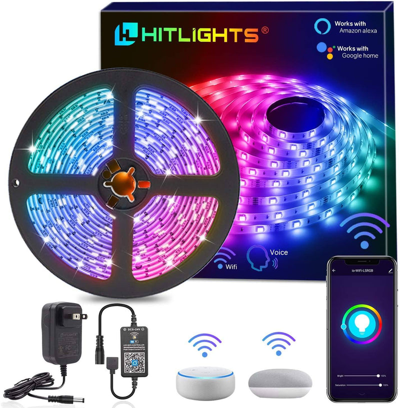 Smart WiFi RGB 5050 LED Strip Kit 16.4FT 5050 Color Changing LEDs - HitLights