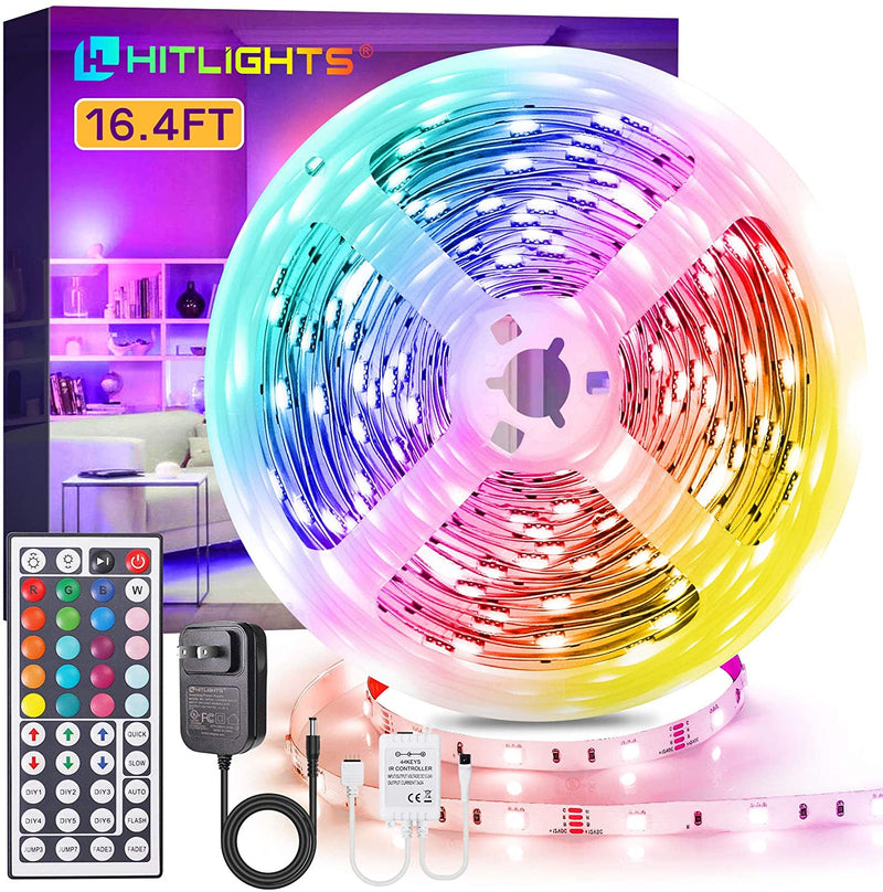 16.4ft RGB Light Strip Kit, Color Changing LED Strip Lights with Remote and 12V UL Adapter - HitLights