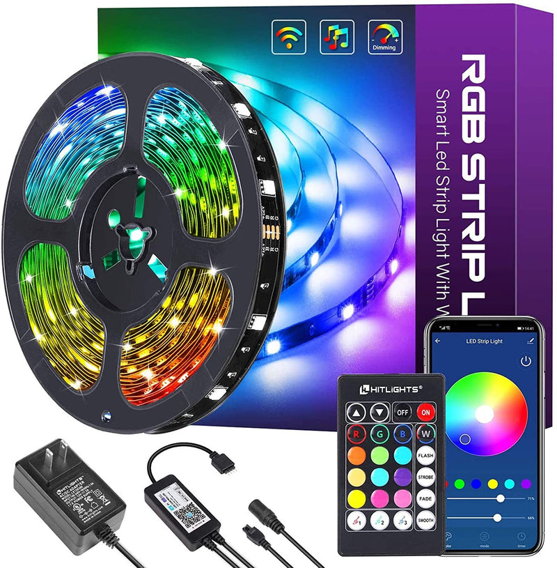 32.8ft Smart LED Strip Lights, 5050 Color Changing, Works with Alexa, Google Home APP Control Music Sync RGB - HitLights