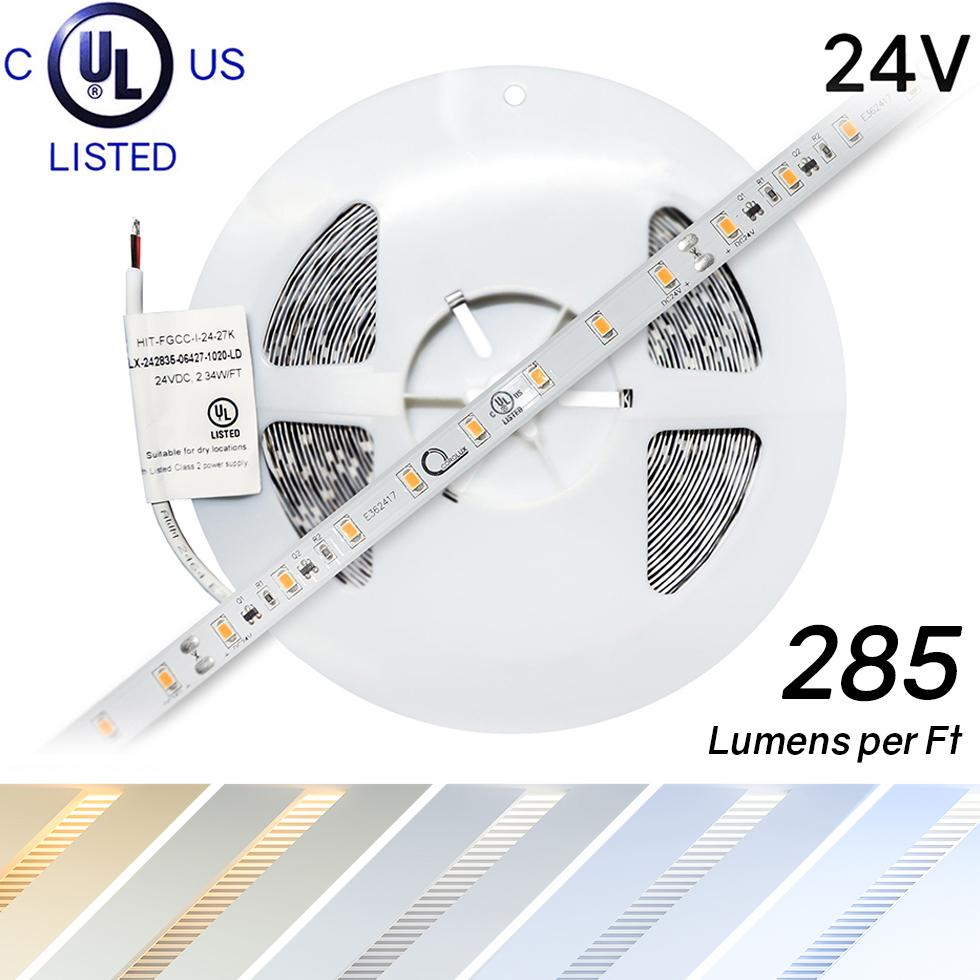 Premium 24 Volt 2835 Corolux LED Light Strip, Single Color (UL-Listed) : 32 Feet [IP-30] - HitLights