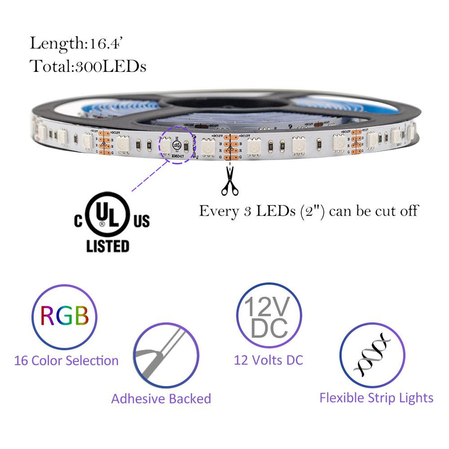 Premium Luma10 (5050) LED Light Strip, RGB Multicolor (UL-Listed) - High Density Indoor, 16.4 Feet [IP-20]