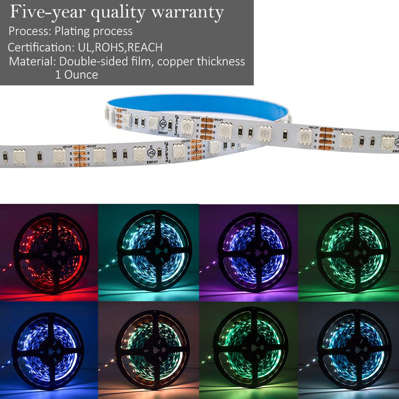 Premium Luma10 (5050) LED Light Strip, RGB Multicolor (UL-Listed) - High Density Indoor, 16.4 Feet [IP-30] - HitLights