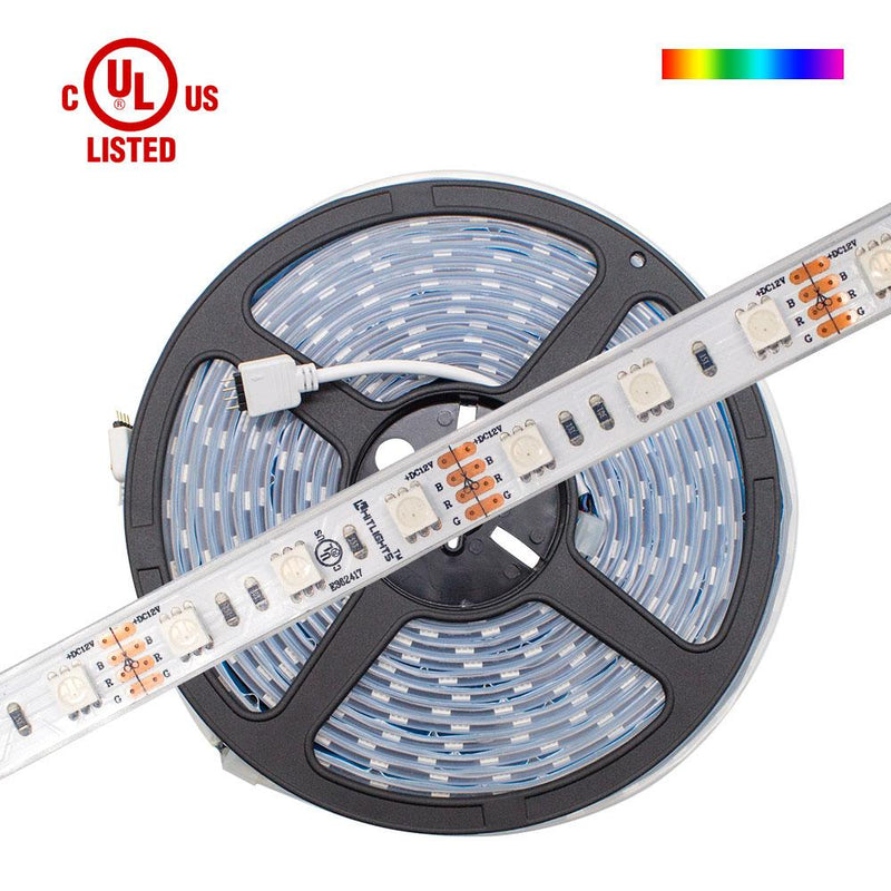 Premium Luma10 (5050) LED Light Strip, RGB Multicolor (UL-Listed) - Standard Density Waterproof, 16.4 Feet [IP-67] - HitLights