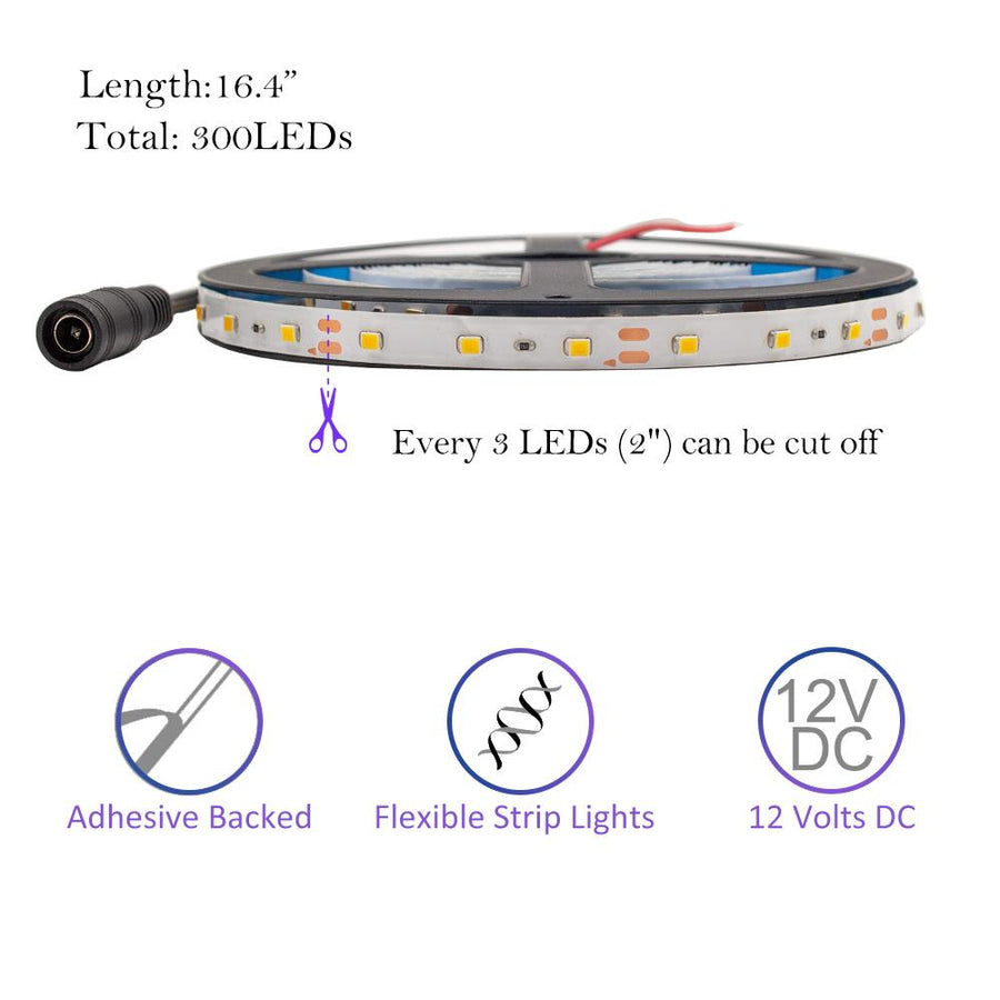 Standard Luma5 LED Light Strip, Single Color 16.4 Feet - Weatherproof [IP-65] - HitLights