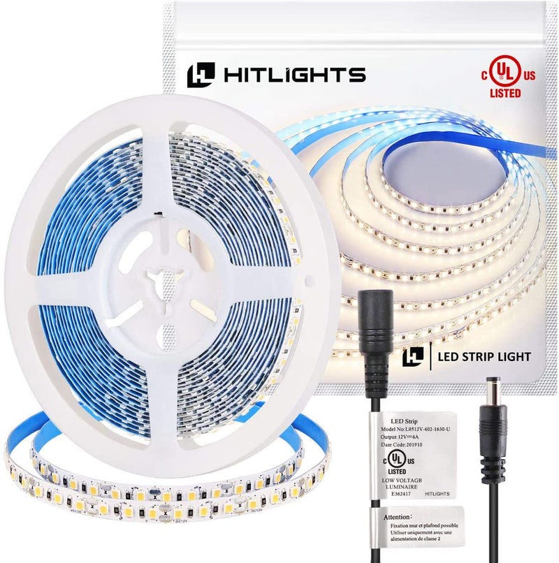 Premium Luma5 LED Light Strip, Single Color (UL-Listed) 16.4 Feet - High Density [IP-30] - HitLights