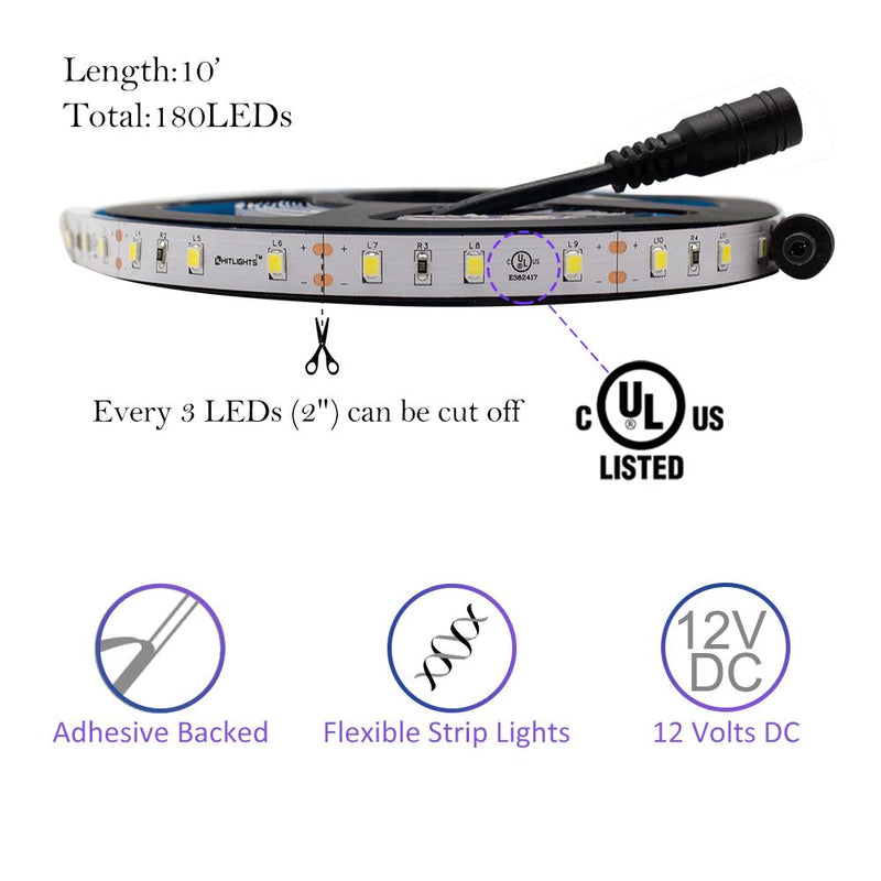Premium Luma20 (2835) LED Light Strip, Single Color (UL-Listed) 10 Feet - Standard Density [IP-30] - HitLights