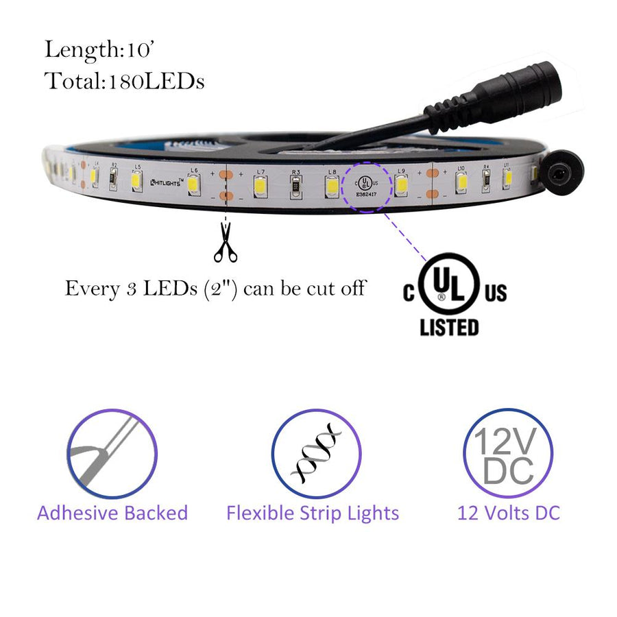 Premium Luma20 (2835) LED Light Strip, Single Color (UL-Listed) 10 Feet - Standard Density [IP-20]