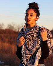 Handwoven Blanket Scarf/ Throw- Grey