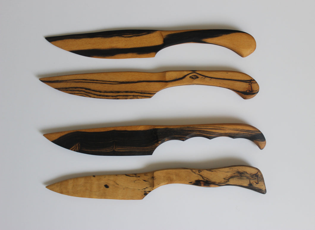 black and white ebony wood knives handcrafted
