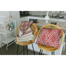 handwoven decorative throw pillows from Laos in a Kitchen