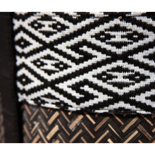 black handwoven bamboo tote details