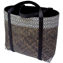 black handwoven bamboo tote bag from Laos