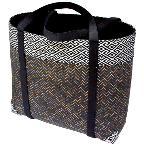 black handwoven bamboo tote bag