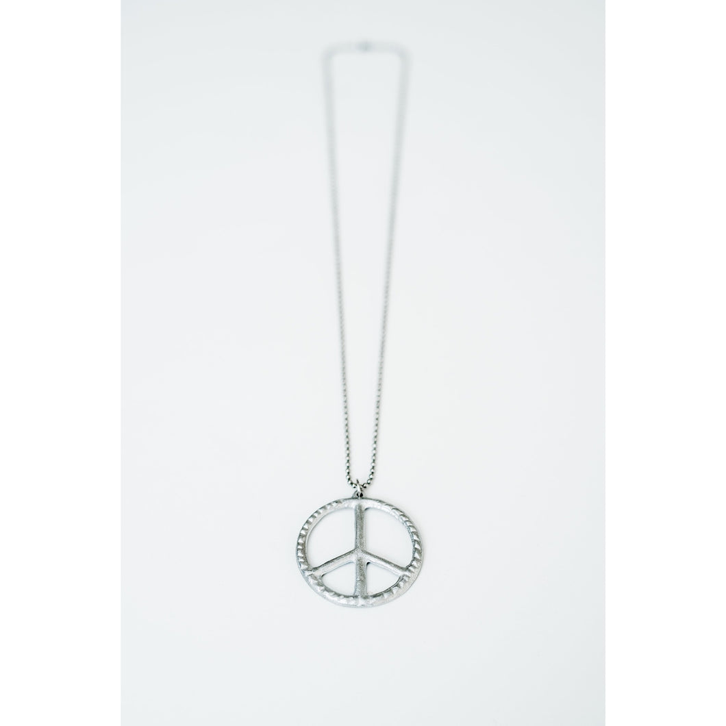 peace sign necklace pendant on stainless steel chain