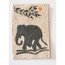 handmade saa paper with a painted elephant and orange sun greeting card