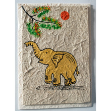handmade saa paper card with handpainted baby gold elephant from Laos