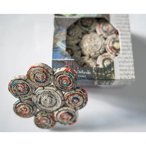 handmade recycled newspaper coaster set