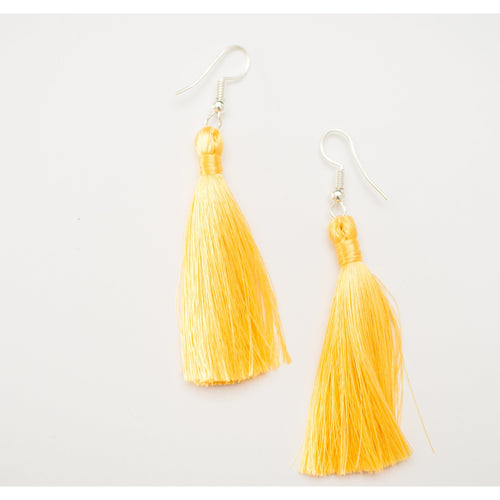 long yellow silk tassel earrings