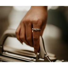 silver ring on finger holding luggage handle