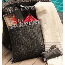 black handwoven bamboo tote