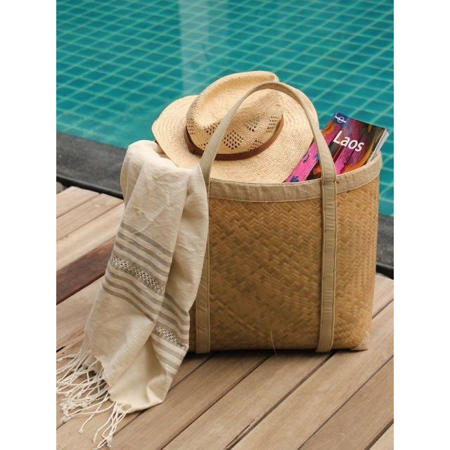 natural handwoven bamboo tote bag