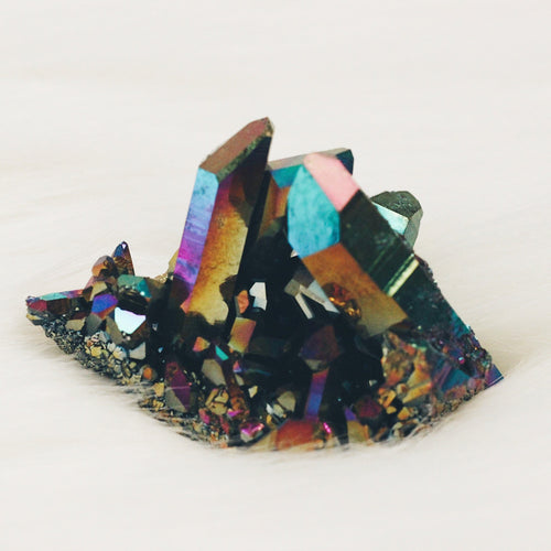 Rainbow Titanium Coated Quartz Cluster