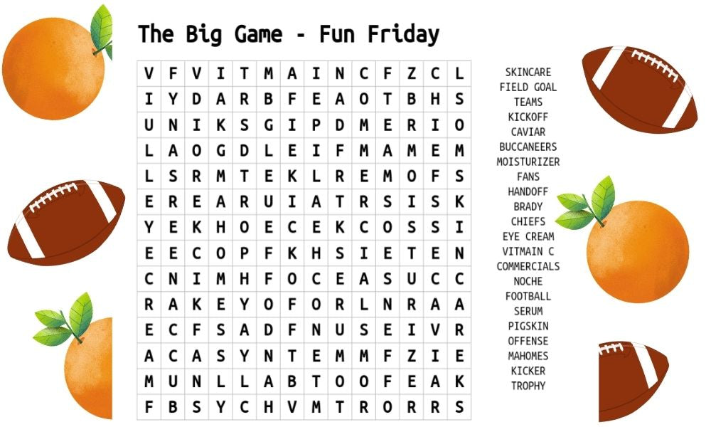 The Big Game Word Search