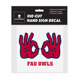 "Florida Atlantic FAU Owls ""OWLS UP"" Hand Sign Die-Cut Car Decal"