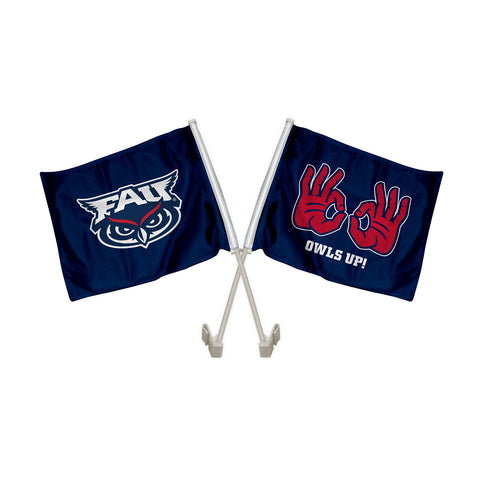 "Florida Atlantic FAU Owls ""OWLS UP"" Hand Sign Car Flag"