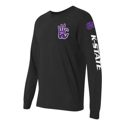 "Kansas State Wildcats ""WC"" Hand Sign Long Sleeve Shirt"