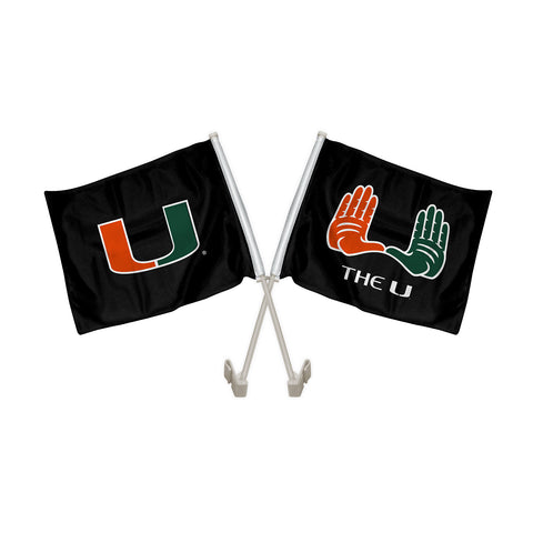 "Miami Hurricanes ""THE U"" Hand Sign Car Flag"