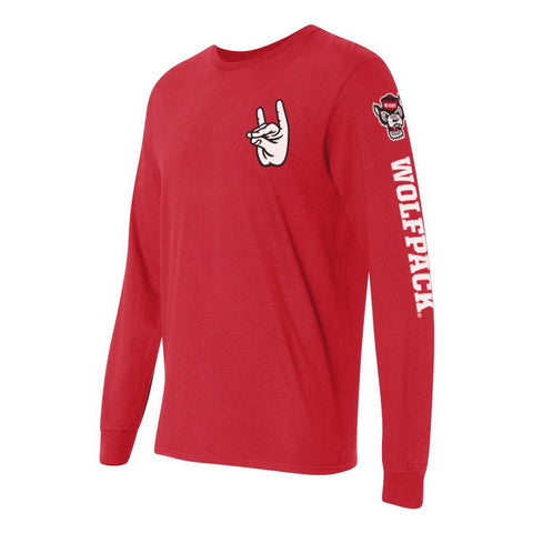 "North Carolina NC State Wolfpack ""WOLFPACK"" Hand Sign Long Sleeve Shirt"